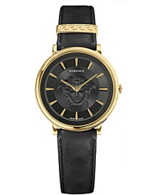 Women's Swiss V-Circle Black Leather Strap Watch 38mm