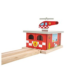 Fire Station Shed Wooden Train Accessory