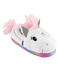 Little and Toddler Girls Lighted Unicorn Plush Slippers