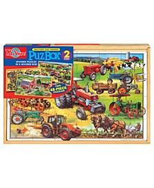 American Tractors Jumbo Wooden Puzzles In A Wooden Box, 2 Puzzles