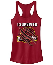 Jurassic Park Women's I Survived Claw Marks on Logo Racerback Tank Top
