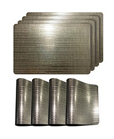 """Reversible Emery Smooth Metallic Stripes 12"""" x 18""""  Placemats - Set of 4"""