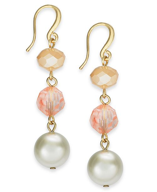 Charter Club Gold-Tone Stone & Imitation Pearl Linear Drop Earrings, Created For Macy's