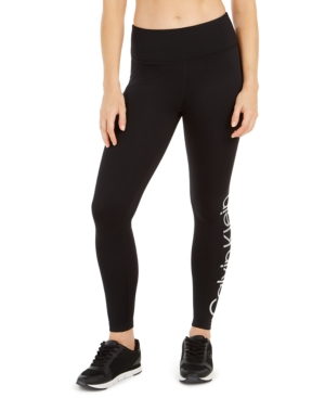 Calvin Klein Performance Cold Gear Fleece-lined High-waist Leggings In Black