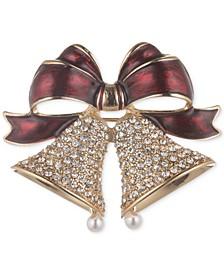Gold-Tone Pavé & Imitation Pearl Holiday Bells Pin