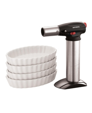 BonJour Chef's Tools 5-Pc. Butane Creme Brulee Torch and Porcelain Ramekin Set