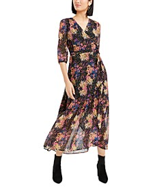 Printed Metallic Wrap Maxi Dress, Created For Macy's