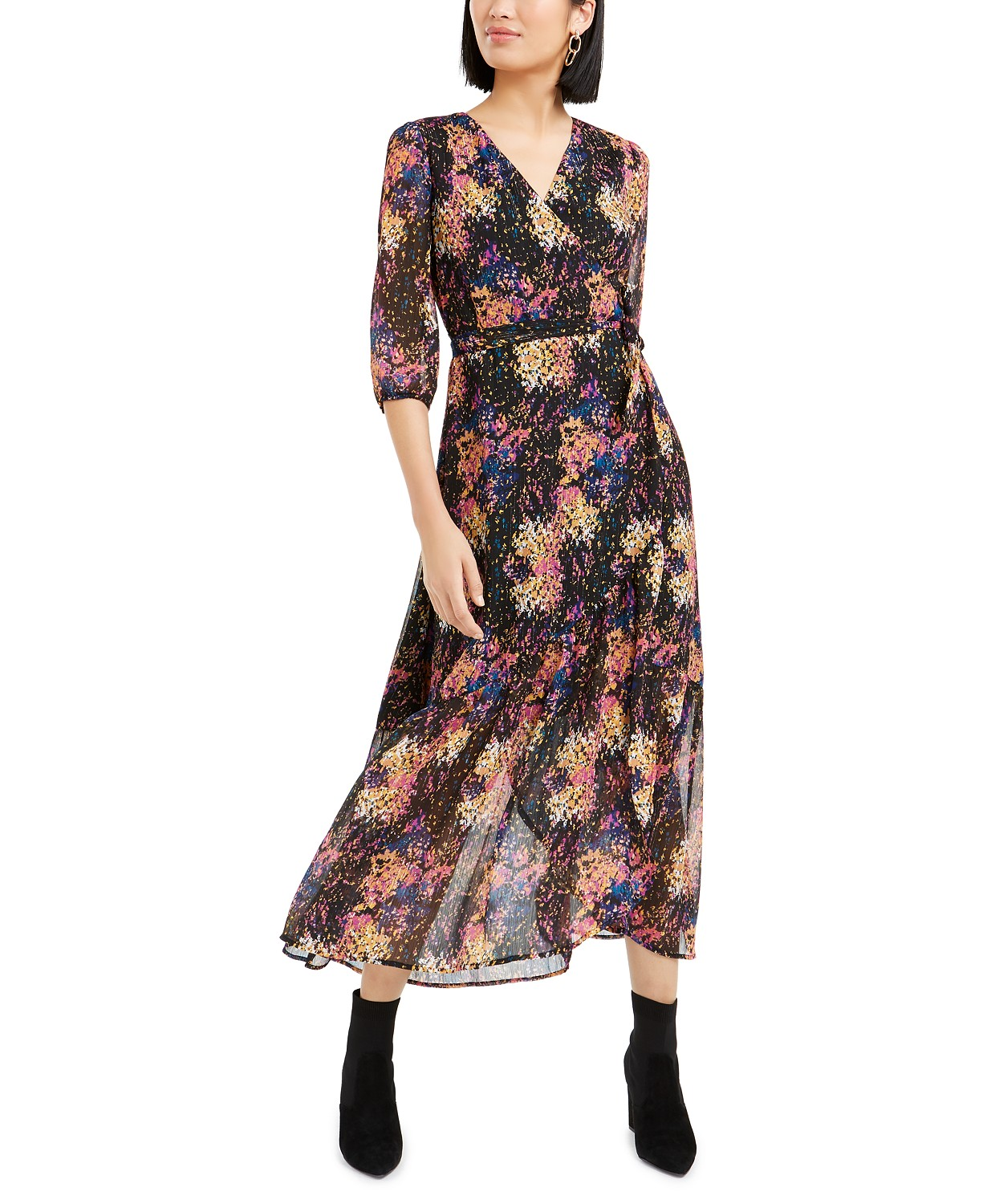 Bar III Printed Metallic Wrap Maxi Dress, Created For Macy's