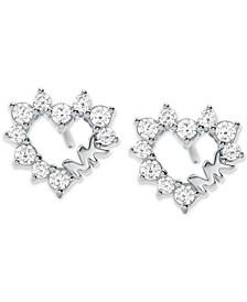 Love Pavé Crystal Open Heart Stud Earrings