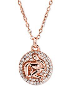 "Rose Gold-Tone Sterling Silver Pavé Zodiac Pendant Necklace, 16"" + 2"" extender"