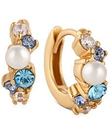 """Extra Small Imitation Pearl & Crystal Huggie Hoop Earrings, 0.4"""""""