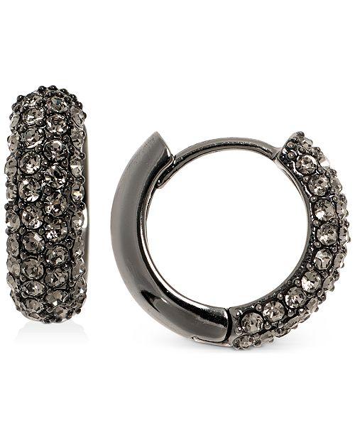 """Lauren Ralph Lauren Hematite-Tone Small Pavé Huggie Hoop Earrings, 0.64"""""""