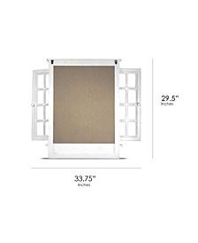 American Art Decor Window Shutter Wall Mirror with 3 Hooks