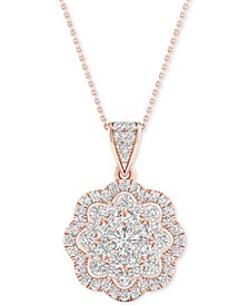 "Diamond Flower Pendant Necklace (3/4 ct. t.w.) in 14k Rose & White Gold, 16"" + 2"" extender"