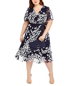 Plus Size Belted Printed Midi Dress