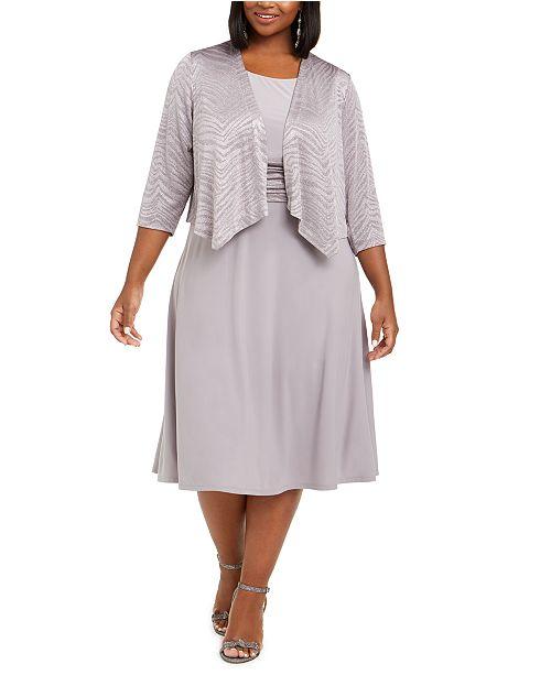 Jessica Howard Plus Size Midi Dress & Glitter Animal-Print Jacket