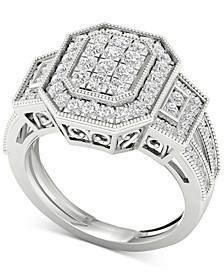 Diamond Octagon Halo Cluster Filigree Statement Ring (1 ct. t.w.) in 10k White Gold