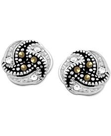 Genuine Swarovski Marcasite Knot Button Earrings in Fine Silver-Plate
