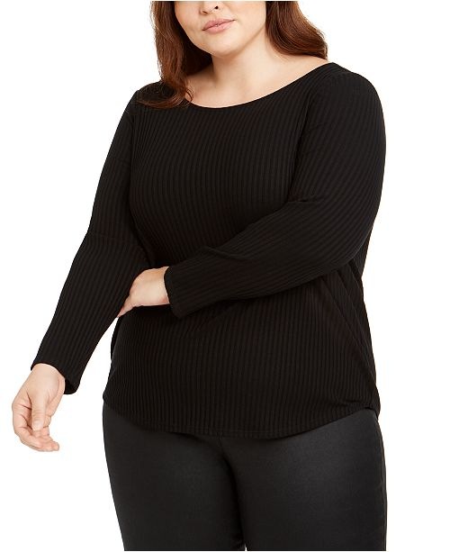 Eileen Fisher Plus Size Ballet-Neck Top