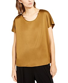 Petite Scoop-Neck Satin Top