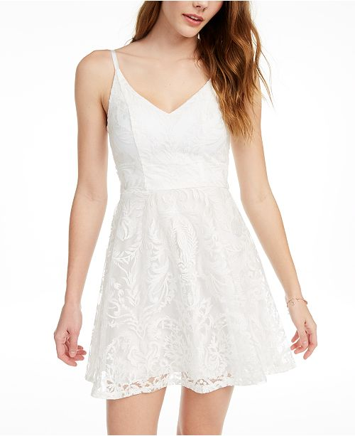 Speechless Juniors' Shimmer Embroidered Fit & Flare Dress