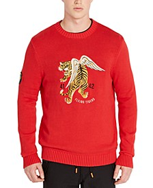 Men's Regular-Fit Embroidered Tiger Sweater