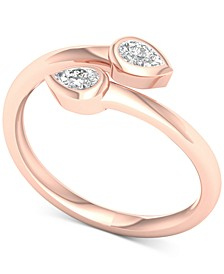 Diamond Pear Bezel Bypass Ring (1/5 ct. t.w.) in 10k Rose Gold