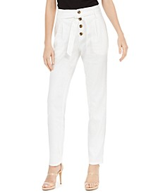 INC Paperbag Tapered Linen-Blend Ankle Pants, Created for Macy's