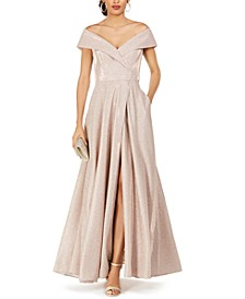 Off-The-Shoulder Shimmer Wrap Gown