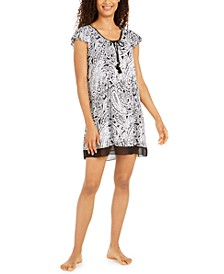 Printed Short-Sleeve Sleepshirt Nightgown