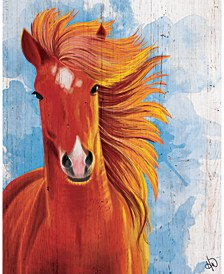 "Red Stallion on Blue Watercolor 36"" x 24"" Canvas Wall Art Print"