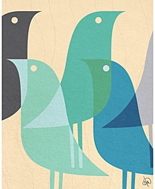 "Retro Bird Caravan in Blue 20"" x 16"" Canvas Wall Art Print"
