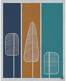 "Retro Flat Feather Pine Trees in Navy, Amber Teal 24"" x 20"" Canvas Wall Art Print"