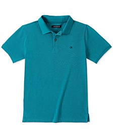 Big Boys Blue Heather Micro-Piqué Polo Shirt