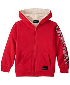 Big Boys Medium Red Fleece-Lined Full-Zip Logo Hoodie