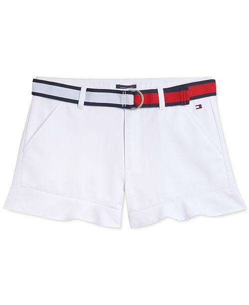Tommy Hilfiger Little Girls Belted Ruffled Shorts