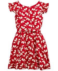 Little Girls Floral Flutter-Sleeve Dress