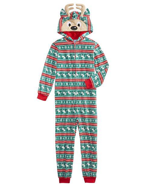Max & Olivia Little & Big Boys 1-Pc. Printed Reindeer Pajama