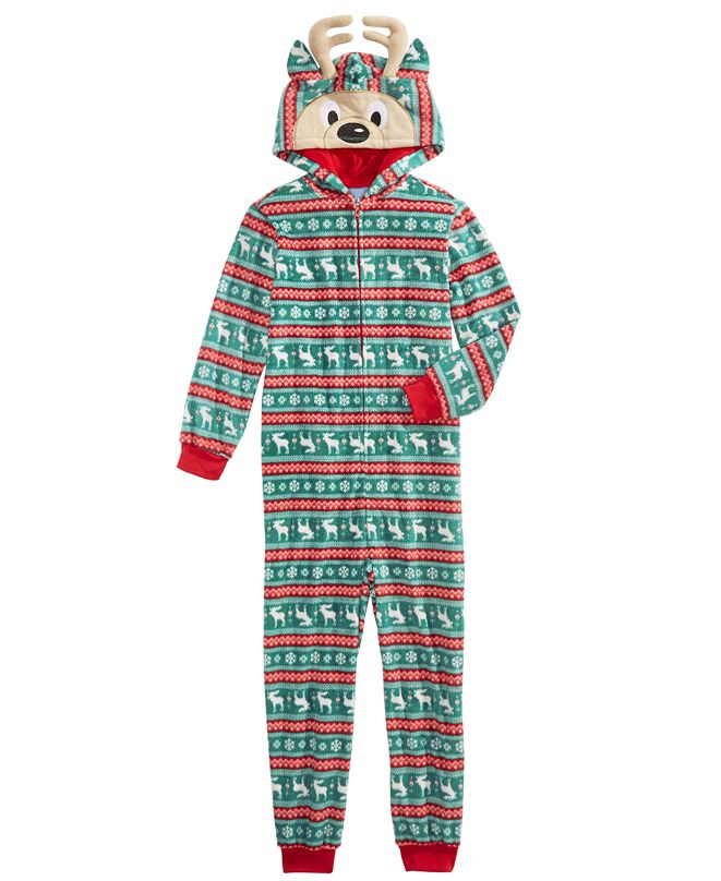 Max & Olivia Little & Big Boys 1-Pc. Printed Reindeer Pajama