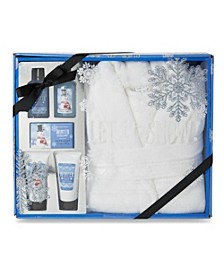 Tri-Coastal White Robe Bath Set In Blue Snowman Gift Box, Online Only