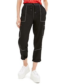 Juniors' Cropped Twill Cargo Pants