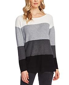 Petite Waffle-Stitched Colorblocked Sweater