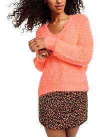 Juniors' Fuzzy V-Neck Sweater