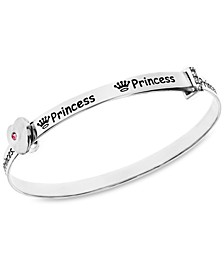 Children's Crystal Princess Bangle in Sterling Silver  3-5 Years