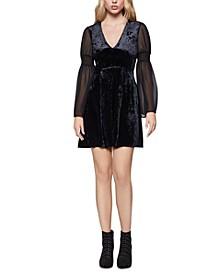 Velvet Smocked-Sleeve Mini Dress