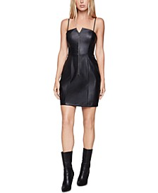 Faux-Leather Zip-Front Bodycon Dress