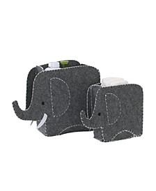 2-Piece Felt Elephant Storage Caddy Set