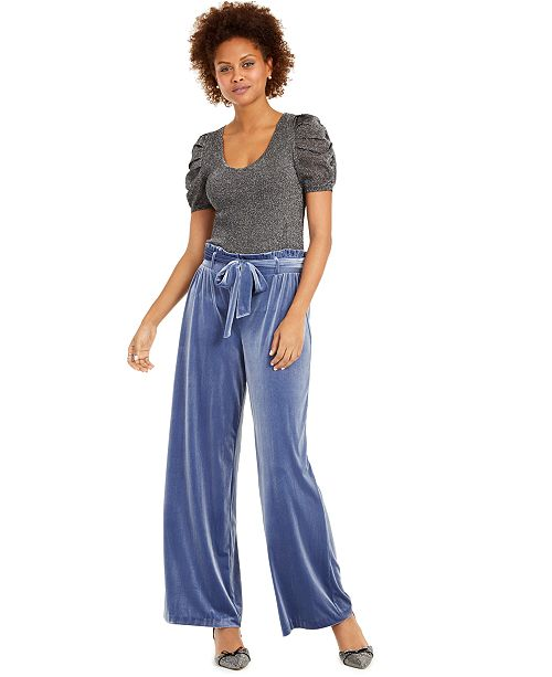 INC International Concepts INC Shimmer Puff-Sleeve Sweater & Velvet Wide-Leg Paperbag Pants, Created For Macy's