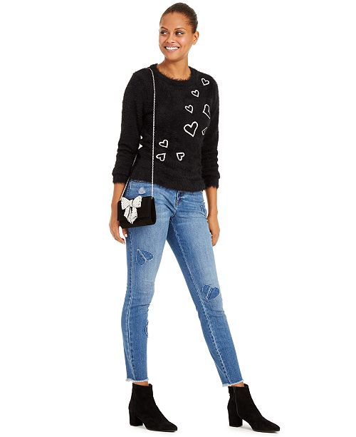 INC International Concepts INC Heart-Print Eyelash Sweater & Heart-Patch Skinny Jeans, Created For Macy's