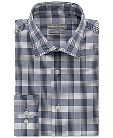 Men's Slim-Fit Performance Stretch Plaid Dress Shirt